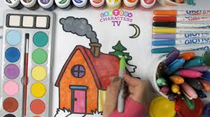 house coloring page for kids color education for children