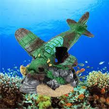aquarium resin airplane wreckage fish tank ornament fish shrimp
