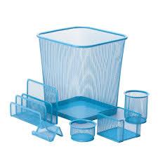 aqua blue desk accessories honey can do 6 piece steel mesh desk set in blue ofc 04881 the