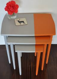 Pictures Of Tables Retro Vintage Upcycled Nest Of Tables With Formica Geometric Cut