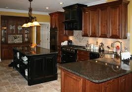 Black And Brown Kitchen Cabinets Light Colored Oak Cabinets With Granite Countertop Kitchens