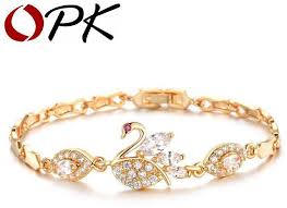 luxury bracelet gold chains images Oem luxury aaa zircon crystal women bracelets elegant swan design jpg