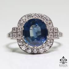 antique art deco platinum 2 87ct sapphire u0026 diamond ring