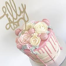 pink and cream buttercream flowers cake for a sweet u0027s