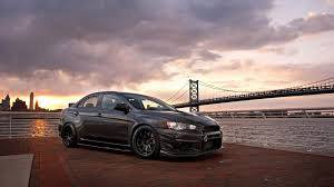 cars mitsubishi lancer black cars mitsubishi lancer evolution x piers sea stance sunset