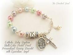 baby rosary bracelet catholic baby girl baptism rosary bracelet with white pink pearl