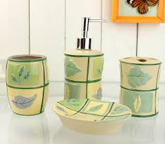 Contemporary Bathroom Accessories Sets - grid leaves pattern yellow bath accessory sets contemporary