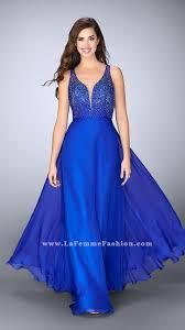 2017 la femme 23304 electric blue two shoulder open back long