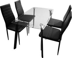 Tesco Dining Table And Chairs Buy Abbey Dining Set Clear Glass Table With 4 Black Chairs From