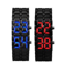digital bracelet led watches images 1pair lava style men 39 s clock watch iron samurai black steel jpg