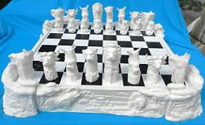 Ceramic Chess Set 40 Pc African Safari Chess Set Ceramic Bisque Ebay