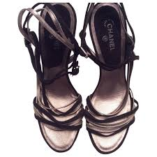 pink leather chanel sandals vestiaire collective
