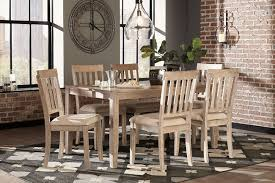 mattilone white wash gray dining room table set 7 cn d484 425