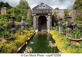 garden flower pond ornamental garden park with wooden stock