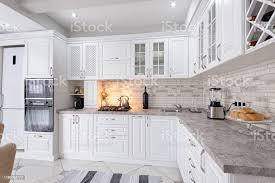 modern white wood kitchen cabinets modern white wooden kitchen interior stock photo image now