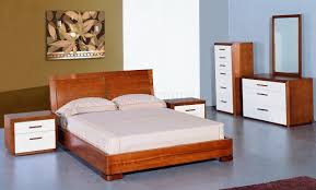 White Gloss Assembled Bedroom Furniture Teak And White Lacquer Finish Modern Two Tone Bedroom Set