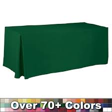 6ft Imprinted Table Cover Custom Non Printed 6 Ft Fitted Style Tablecloth With Pleats Trade Show