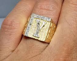 Mens Monogram Rings 14k Solid Gold Men U0027s Wedding Band Rings Gold Rings For
