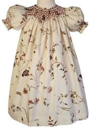 damask summer bishop dress with pink smocking