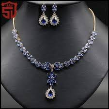 blue sapphire necklace set images Women new 18k yellow gold filled ruby white blue sapphire crystal jpg