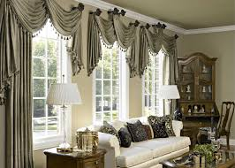 Beige And Green Curtains Decorating Pale Green Curtains On The Hook And Glass Window Connected By