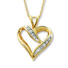 heart gold necklace diamonds images Kay diamond heart necklace 1 4 carat tw 10k yellow gold jpg