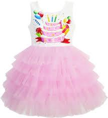 girls dress birthday princess ruffle dress cake balloon print