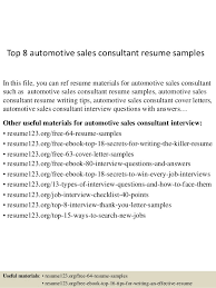 Automotive Resume Samples by Top 8 Automotive Sales Consultant Resume Samples 1 638 Jpg Cb U003d1431513036