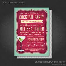 retro cocktail party printable cocktail party birthday invitation with martini