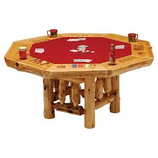Poker Dining Table by Fireside Lodge Furniture 8 Sided Cedar Poker Table With Log