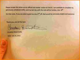 5 two weeks notice letter receipt templates