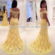 free shipping mermaid off the shoulder yellow lace vestido de