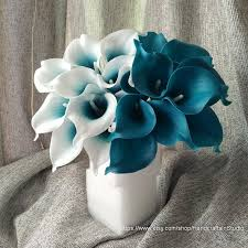 teal wedding calla bouquet flowers 10 stems oasis teal picasso calla