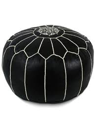 Leather Moroccan Ottoman by Moroccan Pouf Black And White