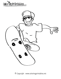 skateboarding coloring page printable coloring pages for boys