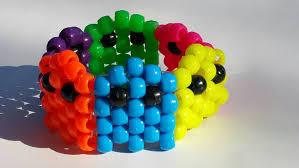 neon rainbow kandi retro pacman ghost bracelet rainbow kandi