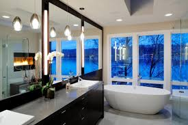 fantastic dream home ideas for you who adore the glamorous look small river view glass wall master bathroom with full wall mirror interior design and decoration of