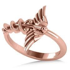ladies rings jewellery images Caduceus medical symbol novelty ladies ring 14k rose gold allurez jpg