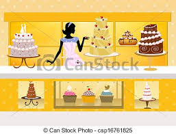 clip art of cake design illustration of cake shop csp16761825