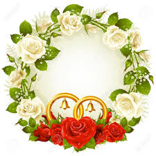 golden flower rings images Frame with white and red rose and golden wedding rings royalty jpg