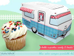 Retro Camper Blue Retro Camper Cupcake Box Holds Cookies And Treats