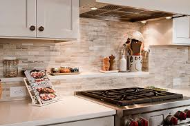 Neutral Colors For Kitchen - faux brick kitchen backsplash in neutral colors complemented beige