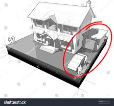 Drawing Of A House With Garage Diagram Classic Colonial House Garage Car Stock Vector 356612210