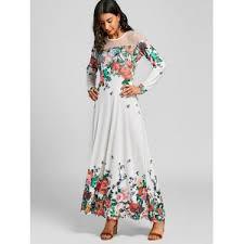 floral maxi dress white 2xl mesh insert floral maxi dress rosegal