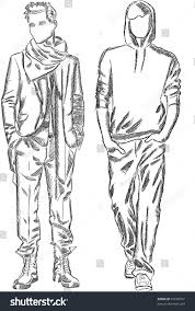 vector sketch fashionable men stock vector 97638752 shutterstock