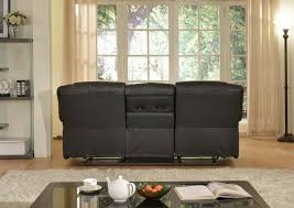 stylish recliner layla black faux leather reclining sofa with drop down tea table