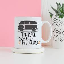 travel is my therapy mug travel campervan mug gifts for