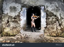 Abandoned Place by Woman Playing Violin Abandoned Place Stock Photo 34263256