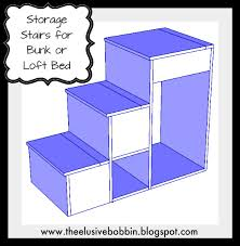Wood Bunk Beds With Stairs Plans by The Elusive Bobbin Free Storage Stairs Plans For A Loft Bed