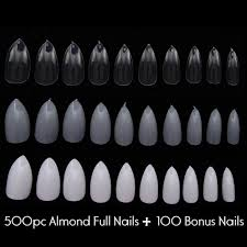 600pc almond shape oval stiletto full cover false nail tips